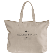 Woman of Integrity (black) - Zippered Canvas Tote Bag, 12oz