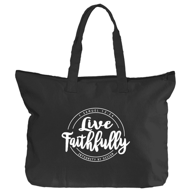 Live Faithfully (white) - Zippered Canvas Tote Bag, 12oz