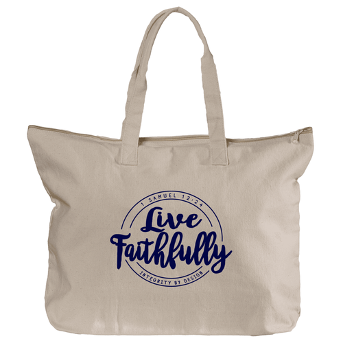 Live Faithfully (navy) - Zippered Canvas Tote Bag, 12oz