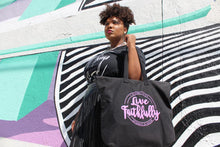 Live Faithfully (pink) - Zippered Canvas Tote Bag, 12oz