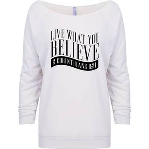 Live What You Believe 2 Cor. 8:21 - Womens Raglan