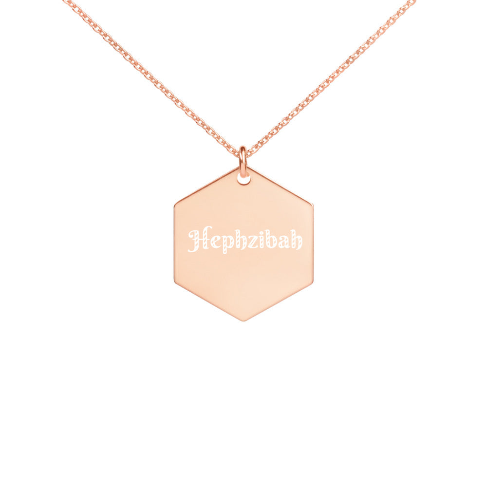 Hephzibah - Engraved Hexagon Necklace