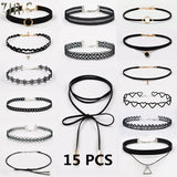 3 to 15 Packs Choker Black Necklaces
