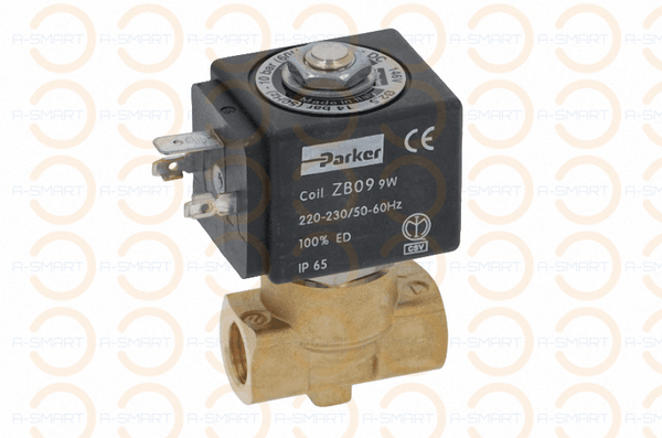 2-Way Solenoid Valve with Viton Seal 1/4 BSP FF Base ZB09 9w 220-240V PARKER VE146NV - A-SMART PTY LTD