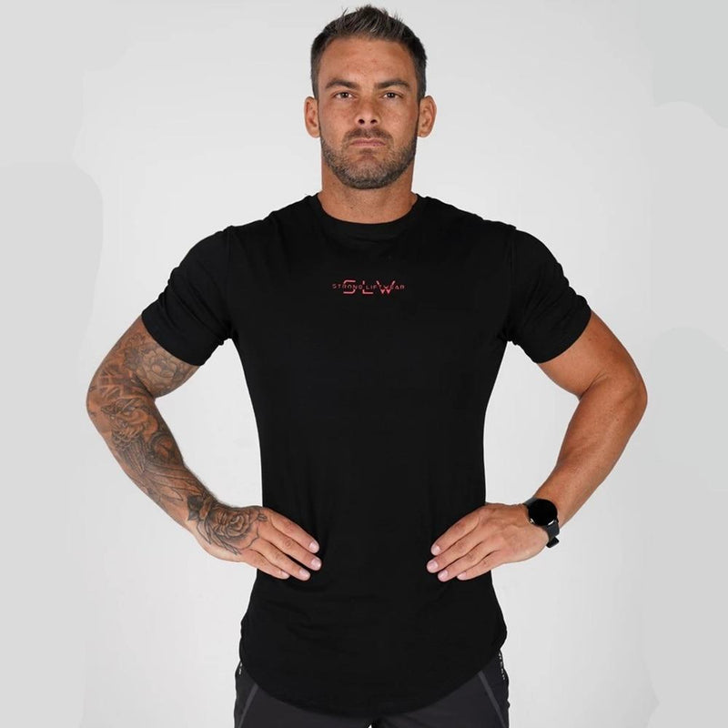 Cotton print short sleeve workout top - Hamilton Fitness Apparel