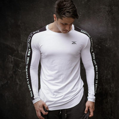 Men Bodybuilding Long sleeve Workout Tee - Hamilton Fitness Apparel