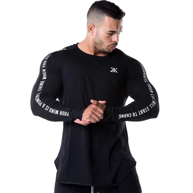 Men Bodybuilding Long sleeve t shirt Casual Fashion Print - Hamilton Fitness Apparel