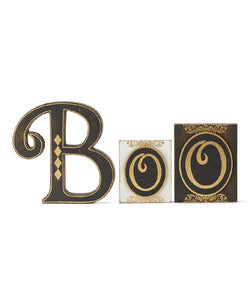Black & White 'Boo' Block Sign Set for Halloween - Midtown Bargains