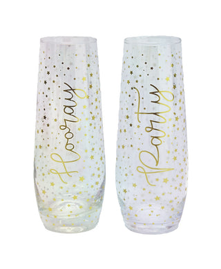 Party Stars Luster Set of 2 Stemless Flutes - Midtown Bargains