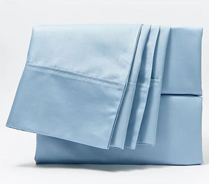 Home Reflections 500TC Cotton Blend Sheet Set w/ Extra Cases Chambray Blue,Queen