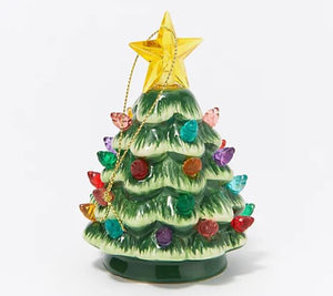 "Mr. Christmas Set of (5) 4.5"" Mini Nostalgic Trees with Gift Bags Natural Green,"