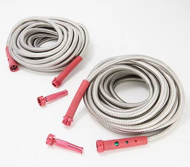 Bernini Set of 2 50' Pro Series Metal No Kink Hose Red,