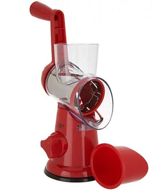 House2Home Countertop Suction Slicer and Grater Mandolin with 3 Barrels Red, - Midtown Bargains