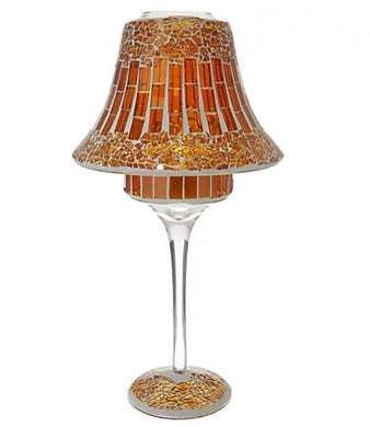 Mosaic Glass Tile Lamp with Tealight by Valerie Amber,
