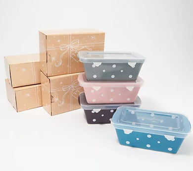 Temp-tations Set of 4 Mini Loaf Pans with Gift Boxes Polka Dot, - Midtown Bargains