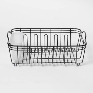 "14.1"" x 6.4"" x 17.9"" Steel Dish Drainer Rack, Black"