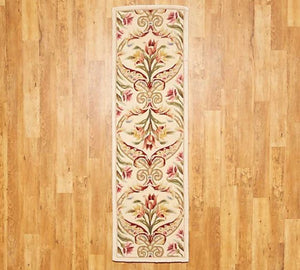 "Royal Palace 2'3"" x 8' Wool Floral Panel Runner Ivory,"