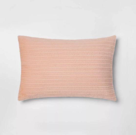 Standard Striped Faux Fur Pillowcase, Blush Peach - Midtown Bargains