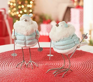 Set of 2 Skiing Snow Birds in Puffer Coats by Valerie Blue,