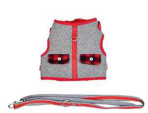 Martha Stewart Buffalo Check Dog Harness w/ Coordinating Leash Vest Grey/Red,XX-Small - Midtown Bargains