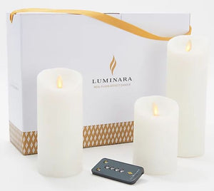 Luminara Set of 3 Glitter Pillars Candle with Gift Box and Remote Icy White, - Midtown Bargains