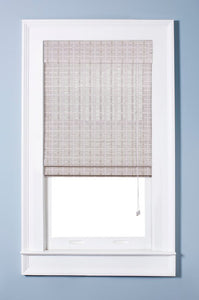 Oriental Semi-Sheer White Washed Roman Shade, Various Sizes - Midtown Bargains