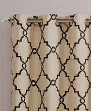 "Saratoga 50"" x 84"" Fretwork-Print Grommet Single Curtain Panel, Navy - Midtown Bargains"