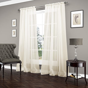 "VUE SIGNATURE Sheer Single Curtain Panel, Carrington 52"" x 95"", Ivory - Midtown Bargains"