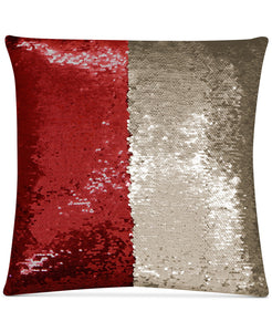 "Mermaid Colorblocked Red & Beige Sequin 18"" Square Decorative Throw Pillow - Midtown Bargains"