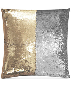 "Mermaid Colorblocked Pale Gold & Silver Sequin 18"" Square Decorative Throw Pillow - Midtown Bargains"