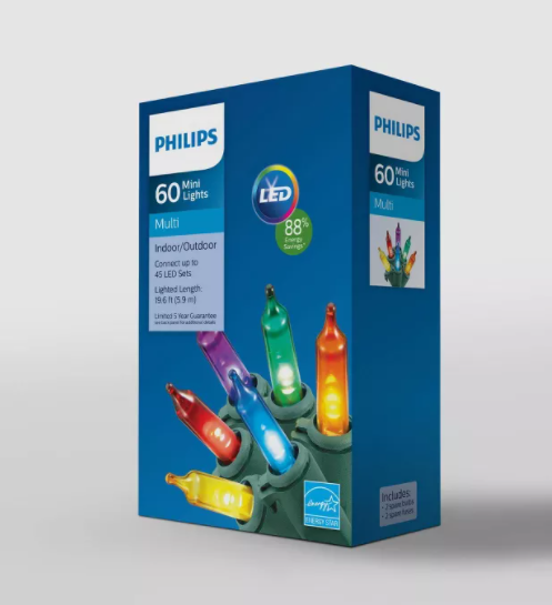 Philips 60ct Christmas LED Smooth Mini String Lights Multicolored - Midtown Bargains