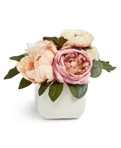 Ranunculus Artificial Arrangement in Ceramic Vase - Midtown Bargains