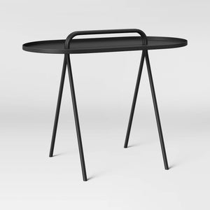 Desoto Metal Pill Shape End Table with Handle, Black - Midtown Bargains