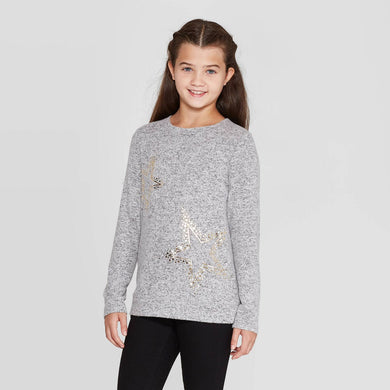 Girls' Stars Cozy Pullover - Heather Gray, Large