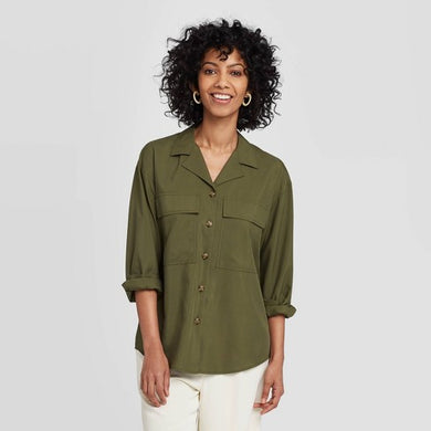 Women's Long Sleeve Button-Down Utility Top, Large