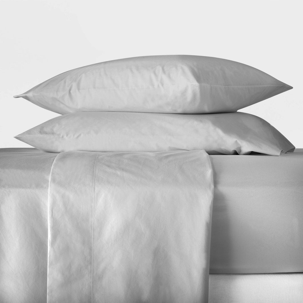 Casaluna Washed Supima Percale Solid Sheet Set, Size Full - Midtown Bargains