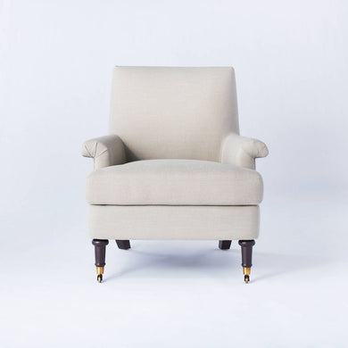 Mercer Rolled Arm Upholstered Arm Chair with Casters *LOCAL PICKUP ONLY - Midtown Bargains