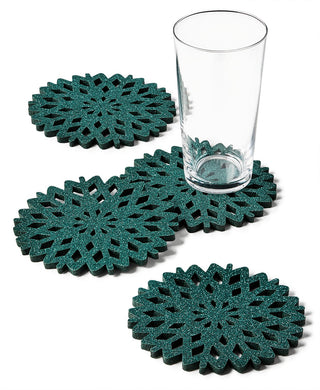 Green Glitter Snowflake Coasters, Set of 4 - Midtown Bargains