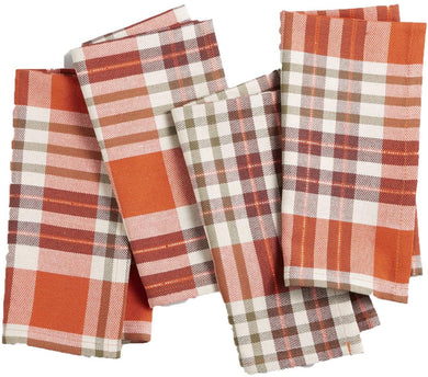 Bardwil Berry Plaid Napkins, Set of 4 (Medium Brown) - Midtown Bargains