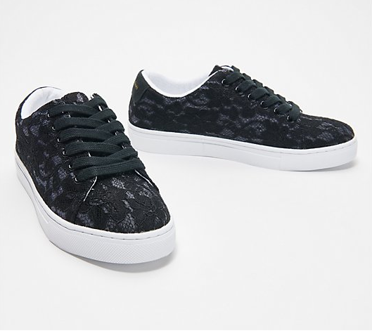 Isaac Mizrahi Live! Lace-Up Floral Lace Sneakers - Midtown Bargains