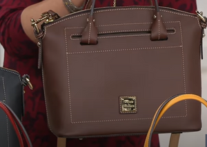 """As Is"" Dooney & Bourke Vachetta Leather Domed Satchel-Beacon Chestnut Color - Midtown Bargains"