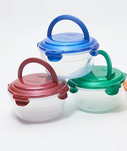 LocknLock Set of 6 Bowls w/ Handles & Holiday Bags - Midtown Bargains
