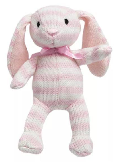 FAQSchwarzToy 4-inch Striped Plush Bunny Pink - Midtown Bargains