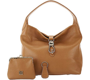 Dooney & Bourke Leather Hobo with Logo Lock and Accessories Natural, - Midtown Bargains