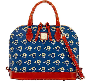 Dooney & Bourke NFL Rams Zip Zip Satchel Navy, - Midtown Bargains