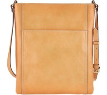 G.I.L.I. Leather Double Zip Flat Crossbody Taupe Color - Midtown Bargains