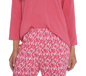 Stan Herman Jersey Knit Tunic and Slim Pant Lounge Set Rosy Coral	Small - Midtown Bargains