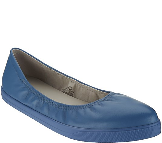Lori Goldstein Collection Slip On Leather Flat with Elastic - Midtown Bargains
