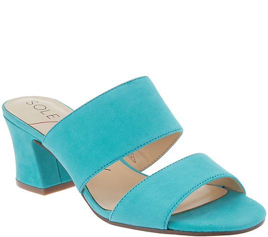 Sole Society Nubuck Heeled Mules - Helina Size 9-1/2 - Midtown Bargains