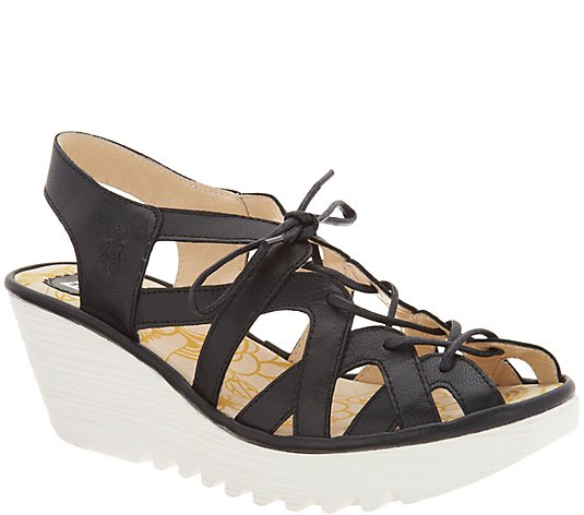 FLY London Leather Lace Up Wedge Sandals - Yapi Size EU 37/US 6-6.5W